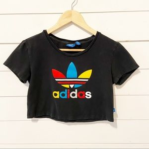 adidas   Black Crop Top With Large Colorful Logo Size Small